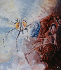 The Spider And The Fly - oil on canvas - 61 x 70 cm