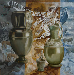 Leopard-Tuscan buccheros-oil an acryl with sand on canvas- 81 x 81 cm