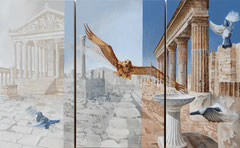 Hawk alight on Pompeii 163 x 100 cm - oil with sand on canvas