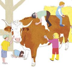 Illustration für Bilderbuch, Tiergestützte Therapie mit Ochsen