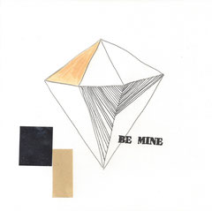 >>Be Mine<<, Pencil, Stamps and coloured Paper on Paper, 20 x 20 cm, 2014