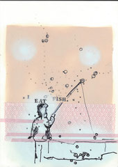 >>I eat fish.<<, Edding, Pencil, Stamps, Spray and Tape on Paper, 21 x 30 cm, 2015
