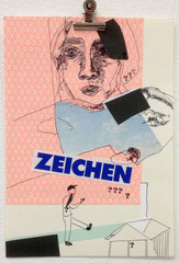 >>Zeichen<<, Edding, Pencil, Journal Cutouts and coloured Paper on Paper, 21 x 30 cm, 2015