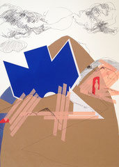 >>Up or Down?<<, Pencil, Ballpoint Pen, Tape and coloured Paper on Paper, 50 x 70 cm, 2014