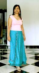 longue bleue turquoise