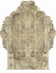 Frankfurt a. d. Oder, ref. Kirche, Orgel von Andreas Gottlieb Spieß, 1727/28, Zeichnung um 1780