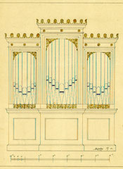 Prospektriss für die Orgel in Frankenfelde