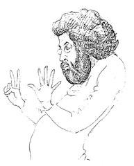 Der Dirigent Giuseppe Sinopoli, Zeichnung von Walter Bönisch