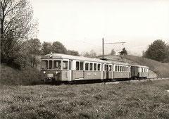BDt 84 + Be 4/4 13 + G 71 + DZ 56 zwischen Zeziwil und Gontenwil, 18. 5. 1977