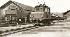 Extrazug mit Eb 3/5 5808 + C3 neben BD Ee2/2 251, Bremgarten-West 1951