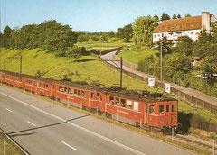 Be 2/4 82 ex 85 + 81 bei Zürich Brunau um 1965