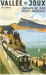 Plakat für die Chemin de Fer Vallorbe - Le Pont-Brassus, ca. 1945