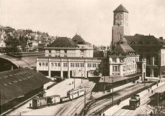 TB-Güterzug um 1920 auf dem Verbindungsgleis zum SBB-Eilgutbahnhof