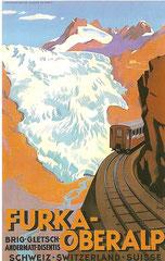 Plakat der Furka-Oberalp-Bahn von Otto Ernst, 1925