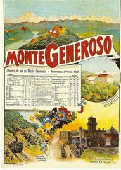 Plakat von 1907 für die Monte Generoso-Bahn