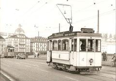 Be 2/2 4 und 37 auf der Seebrücke am 2. 2. 1960