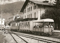 Ankunft in Endstation Leukerbad mit Lo 60 + AB 20 + ABFeh 2/4 11, 13. 8. 1966