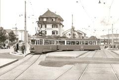 Be 4/4 1543 + B 730 in Altstätten, 13. 6. 1956