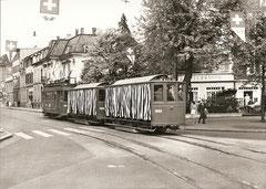 Be 2/2 204 + B2 1058 + B2 1054 auf der Linie 2 am 1. 5. 1960