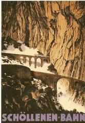 Plakat der Schöllenen-Bahn von Otto Baumberger, 1913