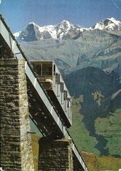Niesenbahn mit Jungfraugruppe, gelaufen am 2. 8. 1967