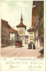 Strassenbahn beim Zeitglockenturm, gelaufen 30. 8 1906