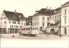 CFe 2/4 2 bei Haltestelle Aarau-Rathaus um 1903