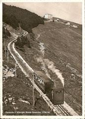 Bahn mit Bergstation, ungelaufen
