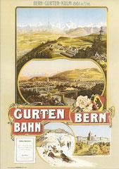Winterplakat von A. Reckziegel für die Gurtenbahn, um 1902