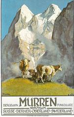 Plakat für Bergbahn Mürren von Ernst Hodel, 1925
