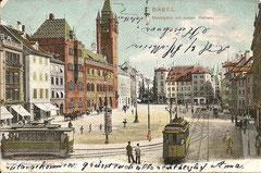 Basel, Marktplatz mit dem neuen Rathaus, gelaufen am 21. 10. 1894