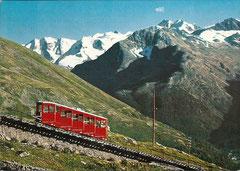 Mouttas Muragl-Bahn mit Berninagruppe, gelaufen 11. 7. 1969