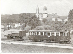 Zug der Langenthal-Melchnau-Bahn mit Kloster St. Urban, ungelaufen