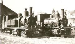 UeBB Ed 3/4 41 + E 3/3 402 vor dem Depot Hinwil um 1947