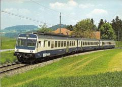 Triebwagenpendelzug RBDe 4/4 728 in Lanzenhäusern am 12. 6. 1984