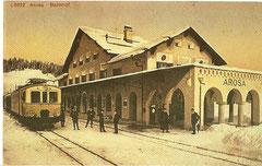 Bahnhof Arosa mit Triebwagen BCFe 4/4 um 1914