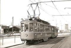 Be 4/4 400 + B3 1301 in der Münchensteinerstrasse am 25. 3. 1968