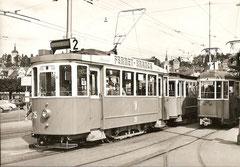 Ce 2/2 35 mit Anhängewagen beim Bahnhof Luzern, 21. 8. 1957