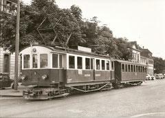 BF 4/4 3 + B4 20 an der alten Endhaltestelle Solothurn 1957