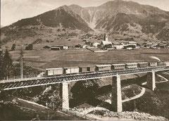 LD-Bahn auf der alten Brücke von Klosters um 1891 mit Mallet-Lok