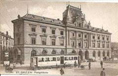Tram vor dem St. Galler Postgebäude, gelaufen 24. 8. 1911