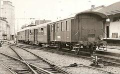 Gemieteter SBB RBe 4/4 1458 mit B 26+BD2 31, Villmergen am 9. 5. 1966