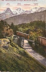 Beatenbergbahn mit Eiger, Mönch und Jungfrau, gelaufen 15. 7. 1926