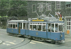 Be 2/2 1019 + B2 629 beim Bahnhof Enge, 18. 8. 1991