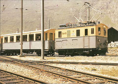 Lokomotive He 2/2 Nr. 4 im Orginalanstrich um 1962 in Andermatt