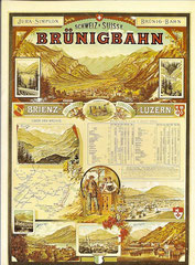 Plakat für die Brüniglinie der JS, 1891 Künstler unbekannt