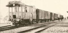 Drhestrom De 2/2 2 der Burgdorf-Thun-Bahn mit Güterzug um 1910