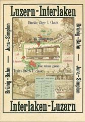 Plakat der Jura - Simplon - Bahn, 1890 von E. Bohrer