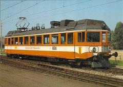 """Triebwagen ABe 4/4 11 """"Burghalden"""" in Pfäffikon Schwyz am 13. 9. 1982"""