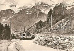 SeTB CFe 2/2 3 mit Güterwagen um 1905 bei Wart